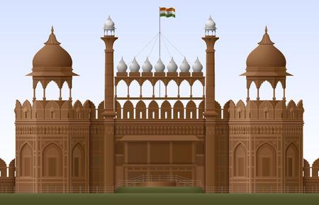 Illustration of Red Fort in New Delhi