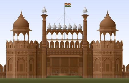 history architecture: Illustration of Red Fort in New Delhi