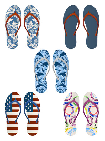 Set of colorful, decorated flip flops