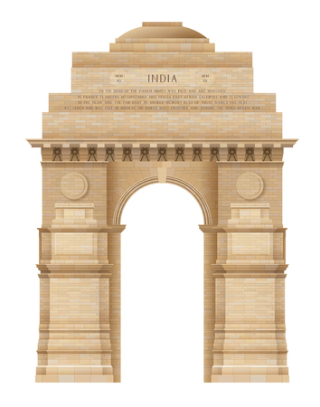 india gate: Illustration of Indian Gate in Delhi isolated on white