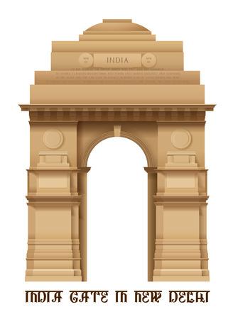 verjas: Ilustración de la Puerta de la India en Delhi aislado en blanco