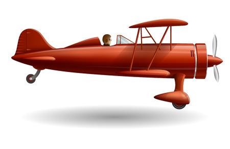 レトロな赤い飛行機のイラスト