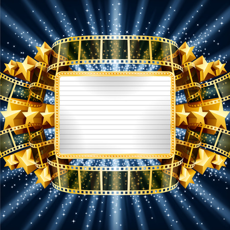 Background with golden banner and film strip, and with shooting stars. EPS 10 contains transparency, mesh. Stock Illustratie