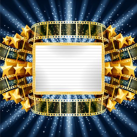 Sfondo con banner d'oro e striscia di pellicola, e con stelle cadenti. EPS 10 contiene la trasparenza, mesh. Archivio Fotografico - 44167550