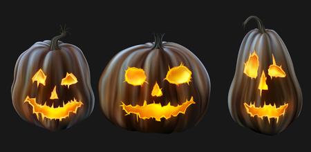 jack o  lanterns: Set of Jack o Lanterns,   Illustration