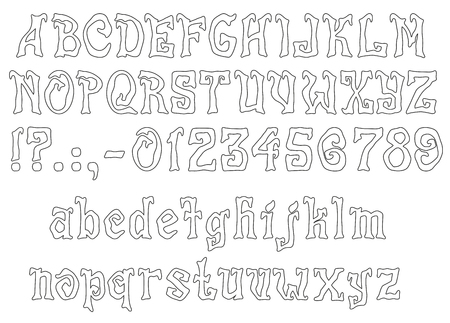 mystique: Mystic Font for Halloween greeting Cards, EPS 8