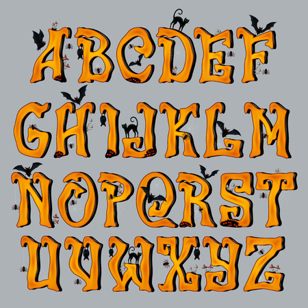 Spooky Halloween Font Capital Letters, for Halloween greeting Cards, EPS 10 contains transparency.