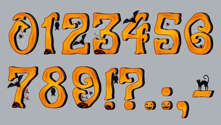 numeros: Spooky Halloween N�mero de fuente figuras, para las tarjetas de felicitaci�n de Halloween, EPS 10 contiene la transparencia. Vectores