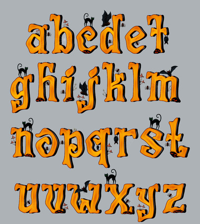 mystique: Spooky Halloween Font Uppercase Letters, for Halloween greeting Cards, EPS 10 contains transparency. Illustration