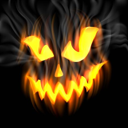 jackolantern: Halloween-terrible background with Jack-o-Lantern and smoke, and flames. EPS 10 contains transparency.