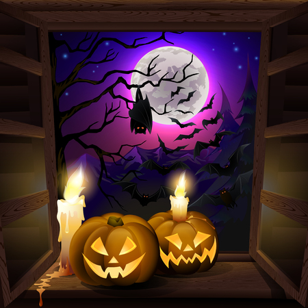 ghastly: Spooky background for halloween greeting card, with pumpkins on window. EPS 10 contains transparency. Illustration
