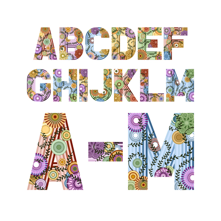 floral decoration: Original font decorated funky letters from A to M, EPS 8. Illustration