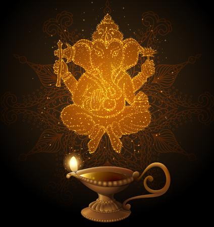 ganesha: Shiny Background with Ganesha. contains transparency. Illustration