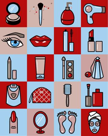 epilator: Set of Beauty Icons.