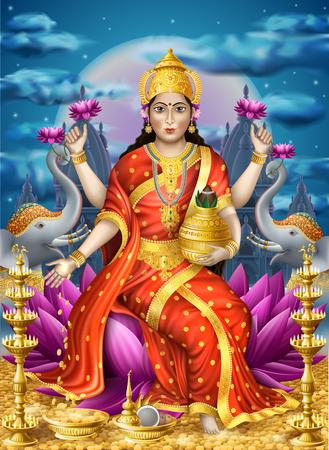 Illustratie met Lakshmi de godin van de rijkdom, EPS-10 bevat transparantie.