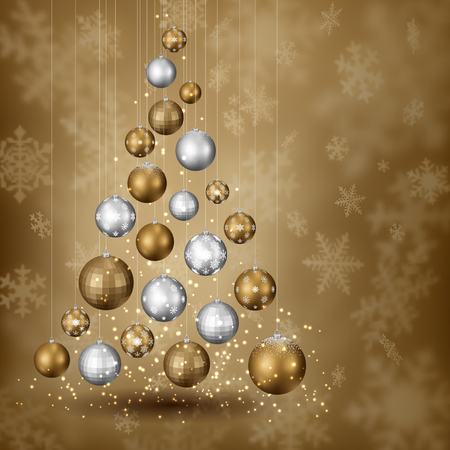 cartoon trees: Abstract christmas tree of balls, on snowy background, EPS 10 contains transparency.