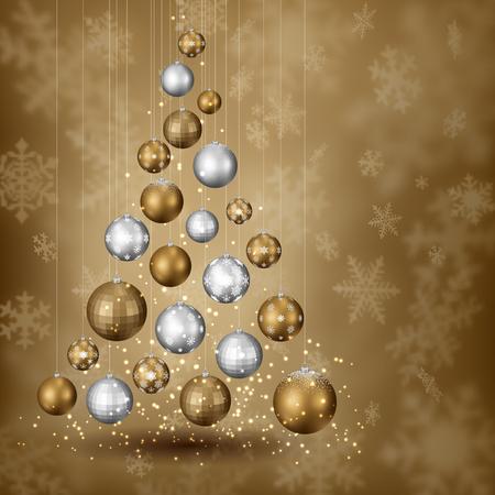 arboles caricatura: Resumen árbol de navidad de las bolas, en el fondo cubierto de nieve, EPS 10 contiene la transparencia. Vectores