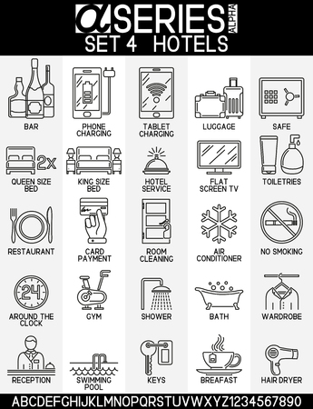 hair dryer: Set of icons linear design of hotel service