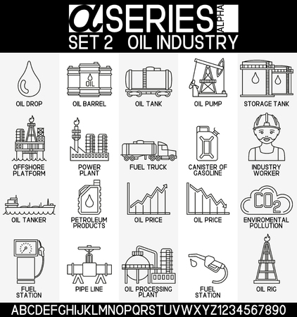 factory workers: Set of oil industry icons