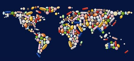 Illustration of abstract world map, made of pills contains transparency.