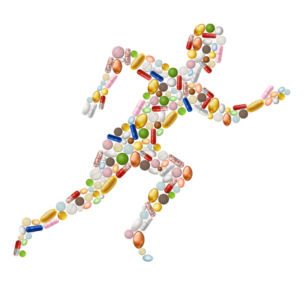 man made: Illustration of abstract runnung man, made of pills contains transparency.