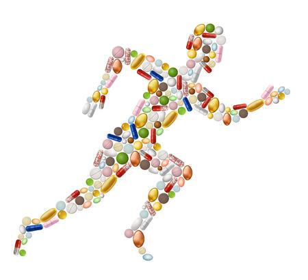 sportsman: Ilustración del hombre runnung resumen, hecha de píldoras contiene transparencia.