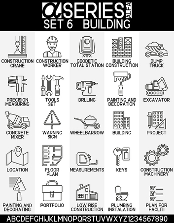 low floor: Set of icons of building industry