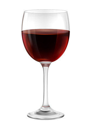 wine glass: Illustration of  glass of red wine contains transparency.