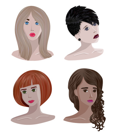 Conjunto de retratos de niñas contiene transparencia. Ilustración de vector