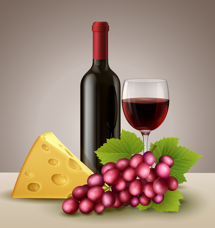 Bottle and glass of red wine, with grape and cheese.