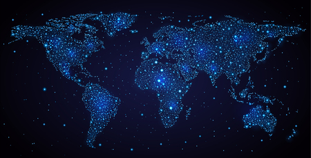 Abstract world map on night sky contains transparency. Stock Illustratie