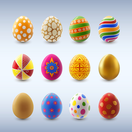 Set of colorful decorated easter eggs,contains transparency
