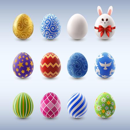 huevos de pascua: Conjunto de coloridos huevos de Pascua decorados, EPS 10 contiene la transparencia