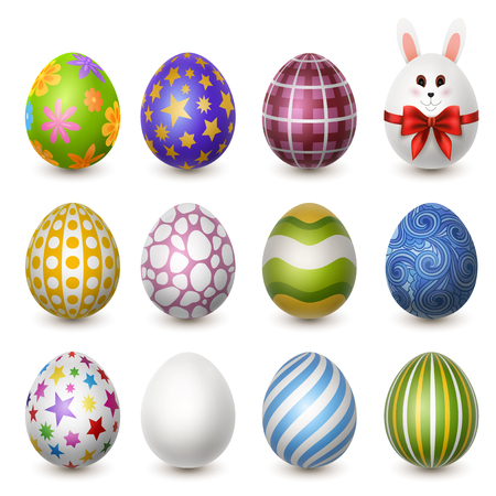 Set of colorful decorated easter eggs, EPS 10 contains transparency Ilustracja