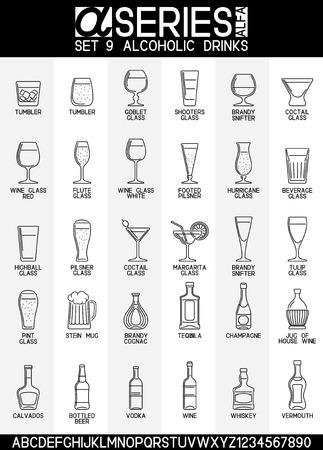 bebidas alcohÓlicas: Conjunto de iconos del diseño de la línea de bar y bebidas alcohólicas Vectores