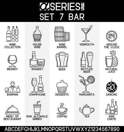 bebidas alcohÓlicas: Conjunto de iconos del diseño de la línea de bar y alcohólicas, bebidas sin alcohol Vectores