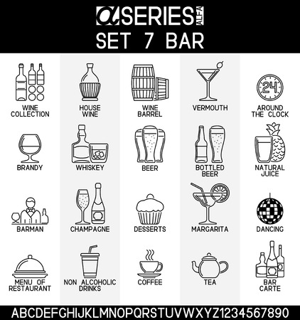 barrel: Set of line design icons of bar and alcoholic, non alcoholic drinks Illustration