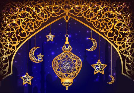 religious celebration: Background with shiny arabic lantern of golden floral design
