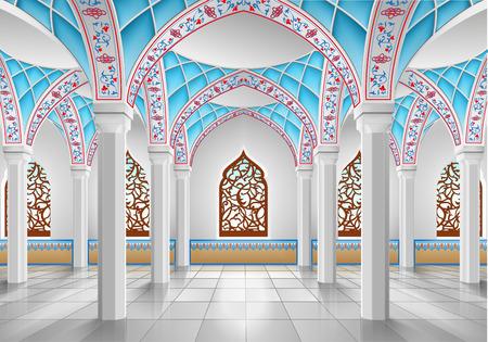 mosque: Interior of mosque, three-dimensional illustration