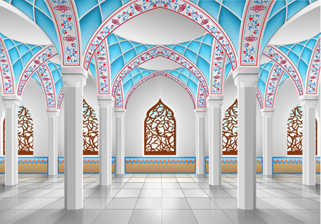 3d temple: Interior of mosque, three-dimensional illustration