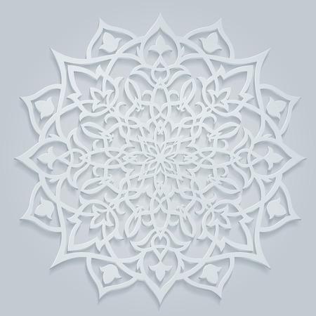 アラビア語の丸い、白いパターン、ラマダーンの挨拶、または装飾用の背景があります、透明部分を含む