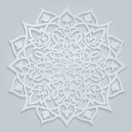 Arabic round, white pattern, may be a background for Ramadan greetings, or for decoration, contains transparency