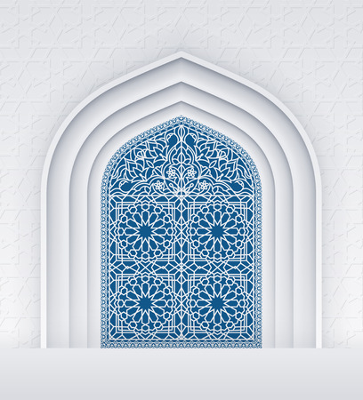 religious celebration: Illustration of doors of mosque, geometric pattern, background for ramadan kareem greeting cards, contains transparency.