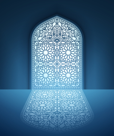 Illustration of doors of mosque, geometric pattern, background for ramadan kareem greeting cards