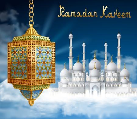 sky lantern: Ramadan Background with mosque in sky, and  golden arabic lantern. Background for holy month of muslim community Ramadan Kareem