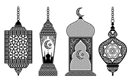 eastern spirituality: Set of arabic lanterns, decoration for holy month of muslim community Ramadan Kareem.