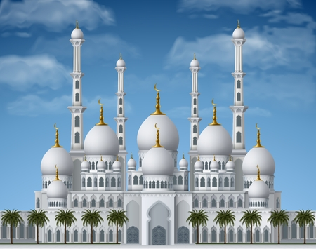 holy place: Beautiful white mosque, in arabian style, with palms. Illustration for holy month of muslim community Ramadan Kareem, contains transparency