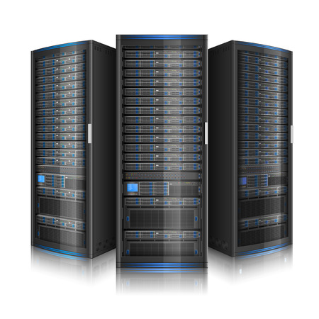Row of network servers, illustration of data center, or super computer, contains transparency