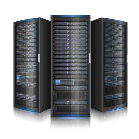 Rangée de serveurs de réseau, illustration du centre de données, ou super ordinateur, contient la transparence