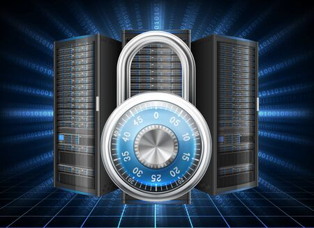network server: Network safety concept - server closed with padlock, database security. Password requirement or access denied. contains transparency.